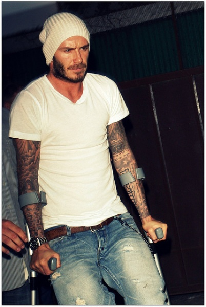 David Beckham after injury
