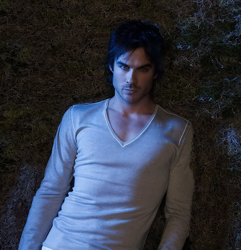 Ian Somerhalder lies on the ground