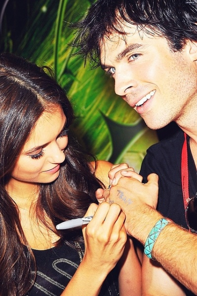 Nina Dobrev and Ian Somerhalder of 'The Vampire Diaries' sign autographs of the 2010 Comic-Con International Convention in San Diego, California