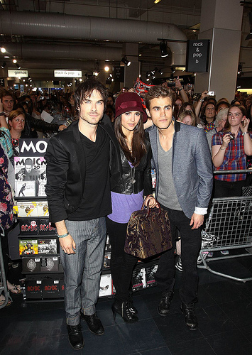 Nina Dobrev, Ian Somerhalder and Paul Wesley attend a fan meet and greet for ...