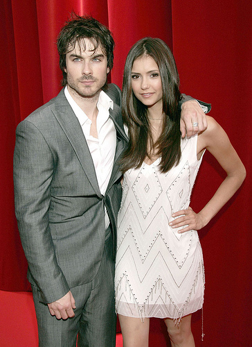 Television stars Nina Dobrev and Ian Somerhalder arrive at the opening night of the 2010 Monte Carlo Television Festival at the Grimaldi Forum in Monaco