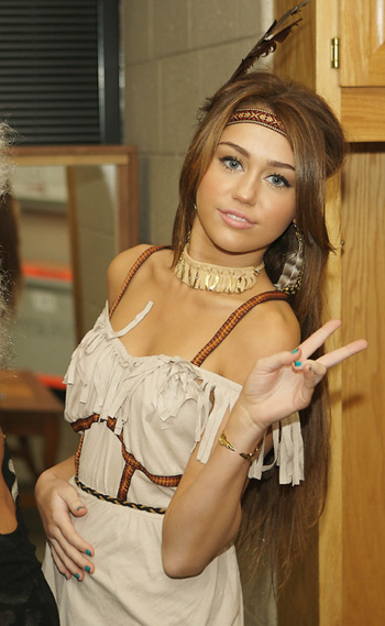 Miley Cyrus at the Halloween backstage in Freedom Hall, Louisville Kentucky where she performed