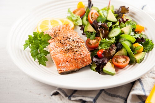 Roasted Herb Salmon with Salad