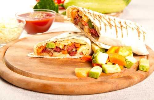 Balsamic zucchini tomato sandwich wrap