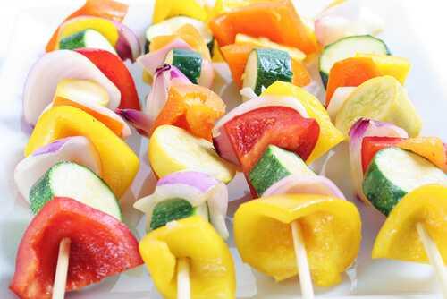 Bright red, yellow and orange fruits and veggies