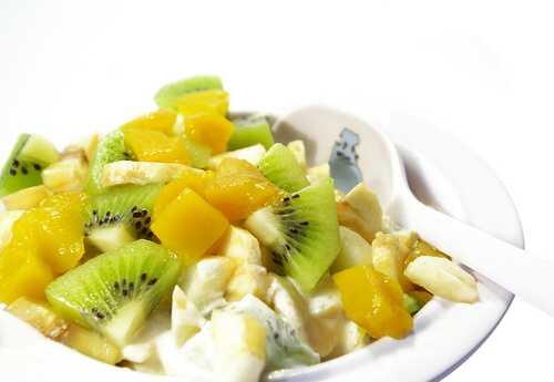 Mango, papaya and kiwi fruit salad