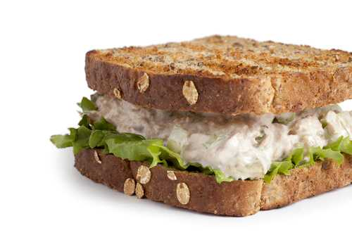 Tuna salad on whole wheat toast