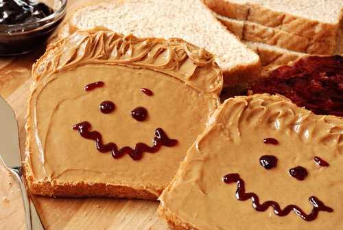 Whole-grain bread with peanut butter