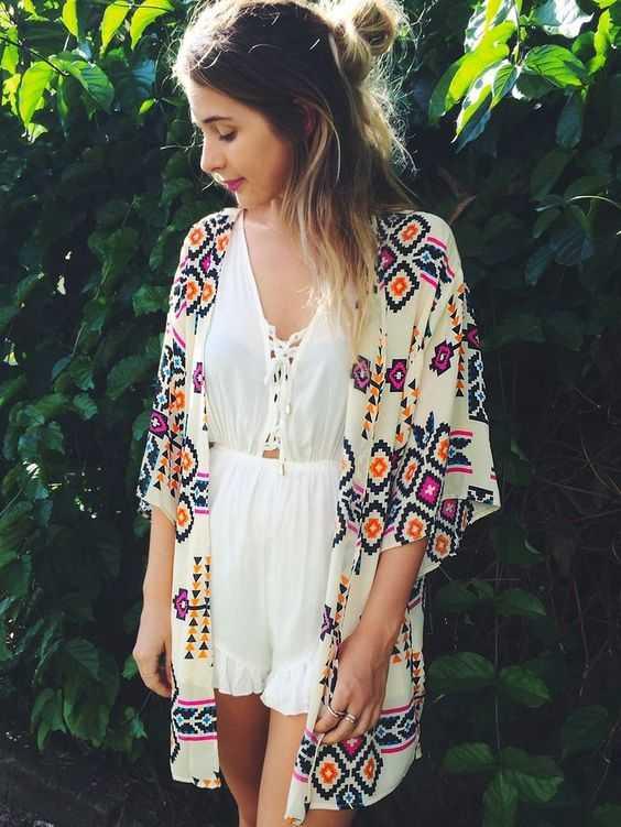 With a kimono