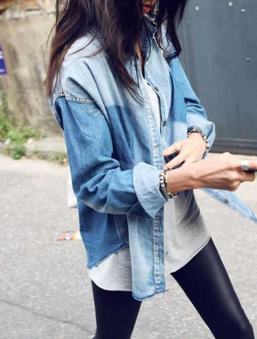 Leggings and a denim shirt