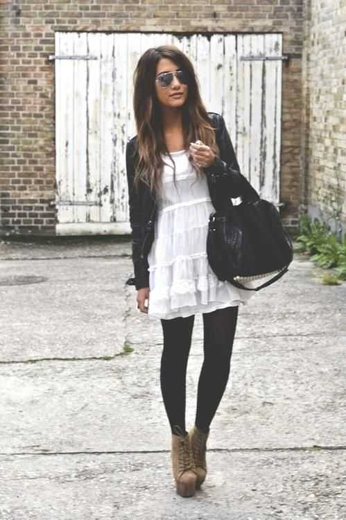 White summer dress and black leggings