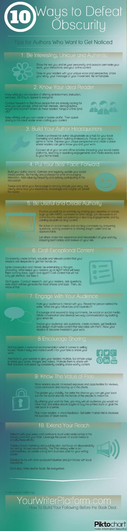 10 Ways To Defeat Obscurity Tips For Authors Who Want To Get Noticed Infographic