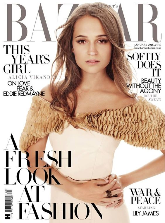 Alicia Vikander British Harper's Bazaar Cover January 2016