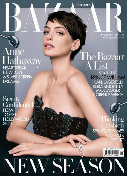 Anne Hathaway British Harper's Bazaar Cover February 2013