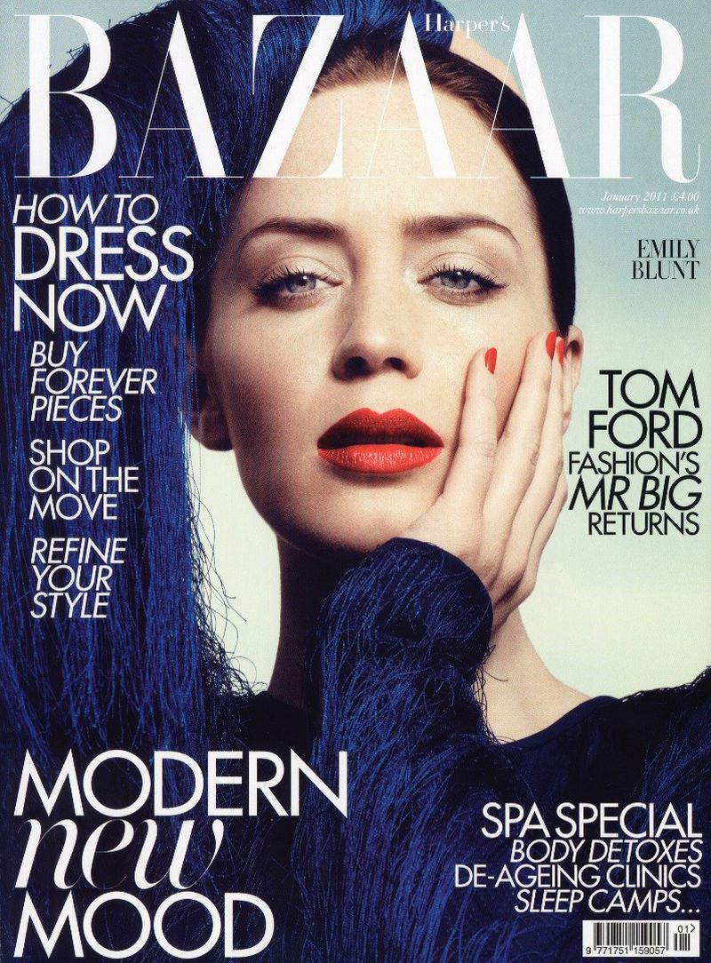 Emily Blunt British Harper's Bazaar Cover January 2011