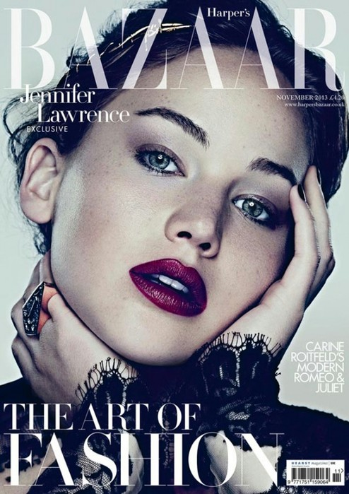 Jennifer Lawrence British Harper's Bazaar Cover November 2013
