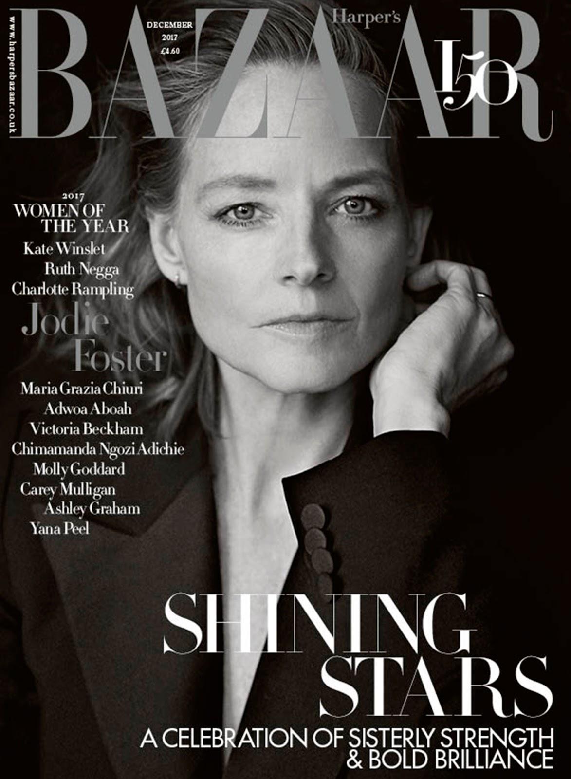 Jodie Foster British Harper's Bazaar Cover December 2017