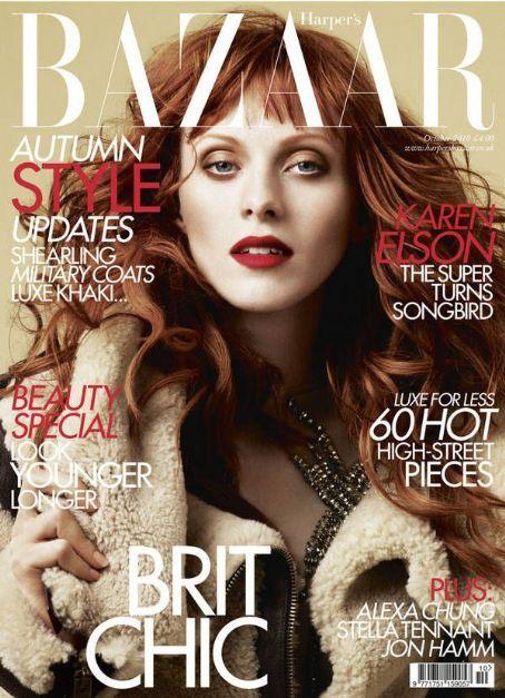 Karen Elson British Harper's Bazaar Cover October 2010