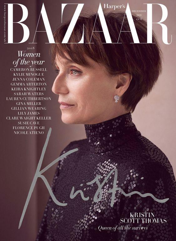 Kristin Scott Thomas British Harper's Bazaar Cover December 2018