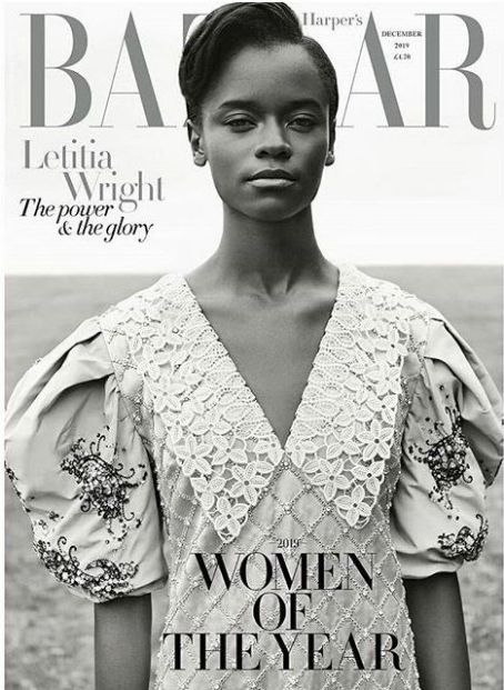 Letitia Wright British Harper's Bazaar Cover December 2019