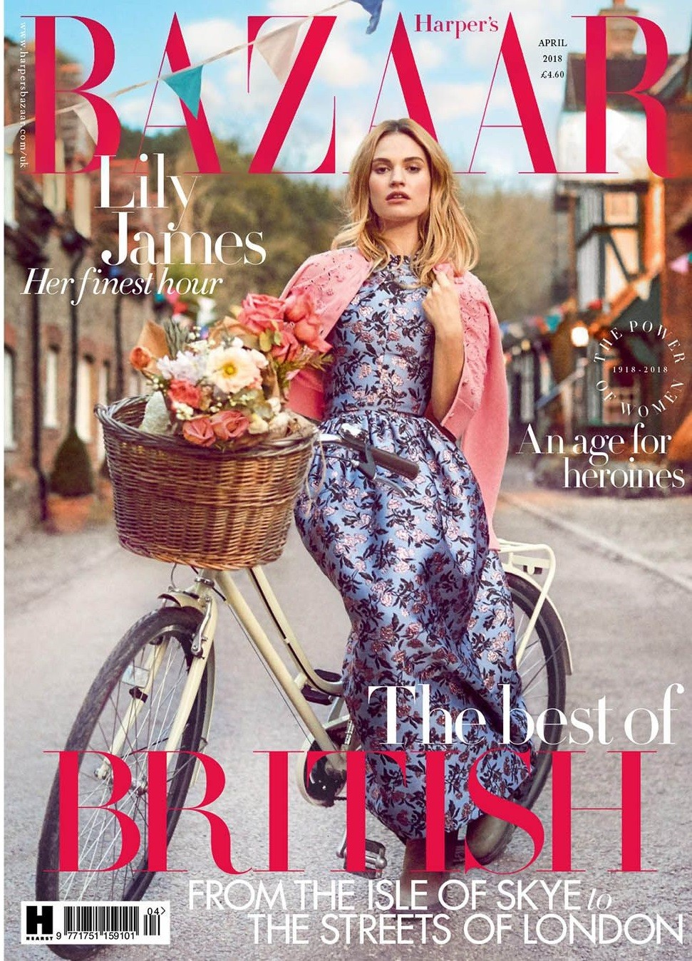 Lily James British Harper's Bazaar Cover April 2018