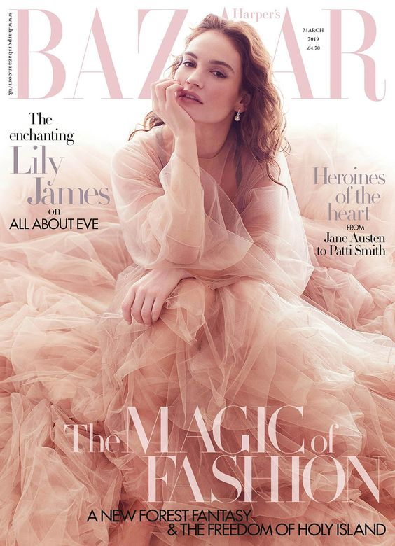Lily James British Harper's Bazaar Cover March 2019