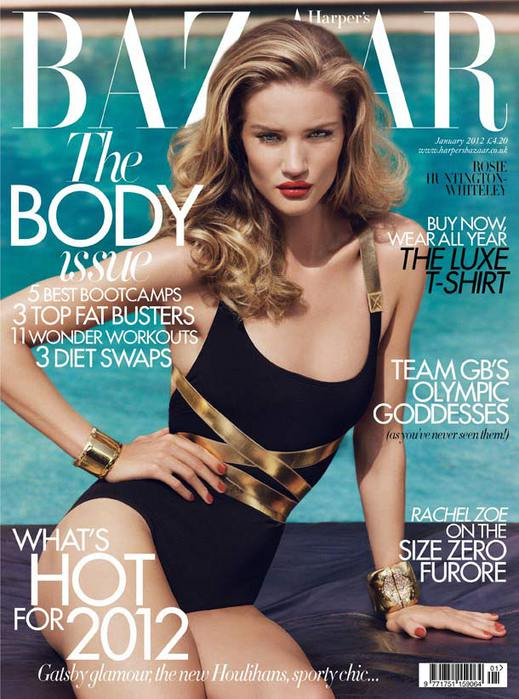 Rosie Huntington-Whiteley British Harper's Bazaar Cover January 2012
