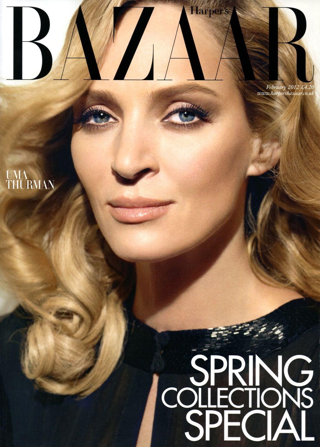 Uma Thurman British Harper's Bazaar Cover February 2012