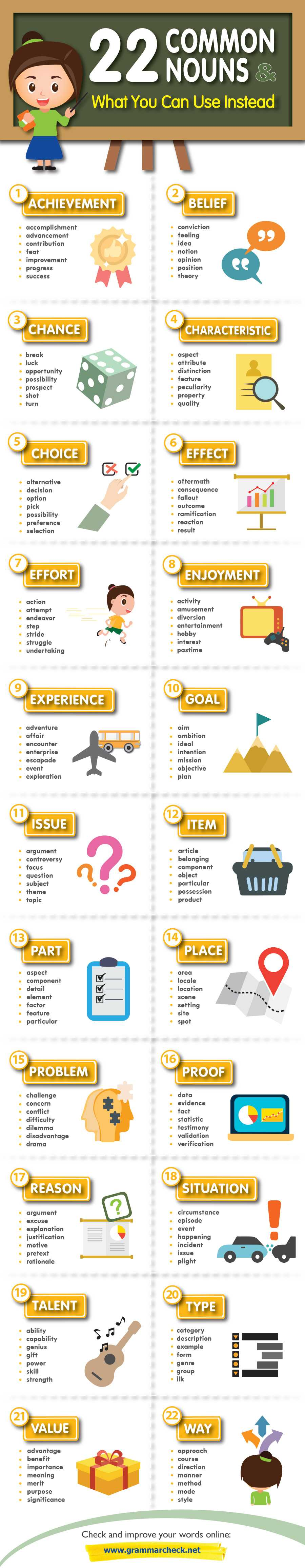 22 Common Nouns & What You Can Use Instead