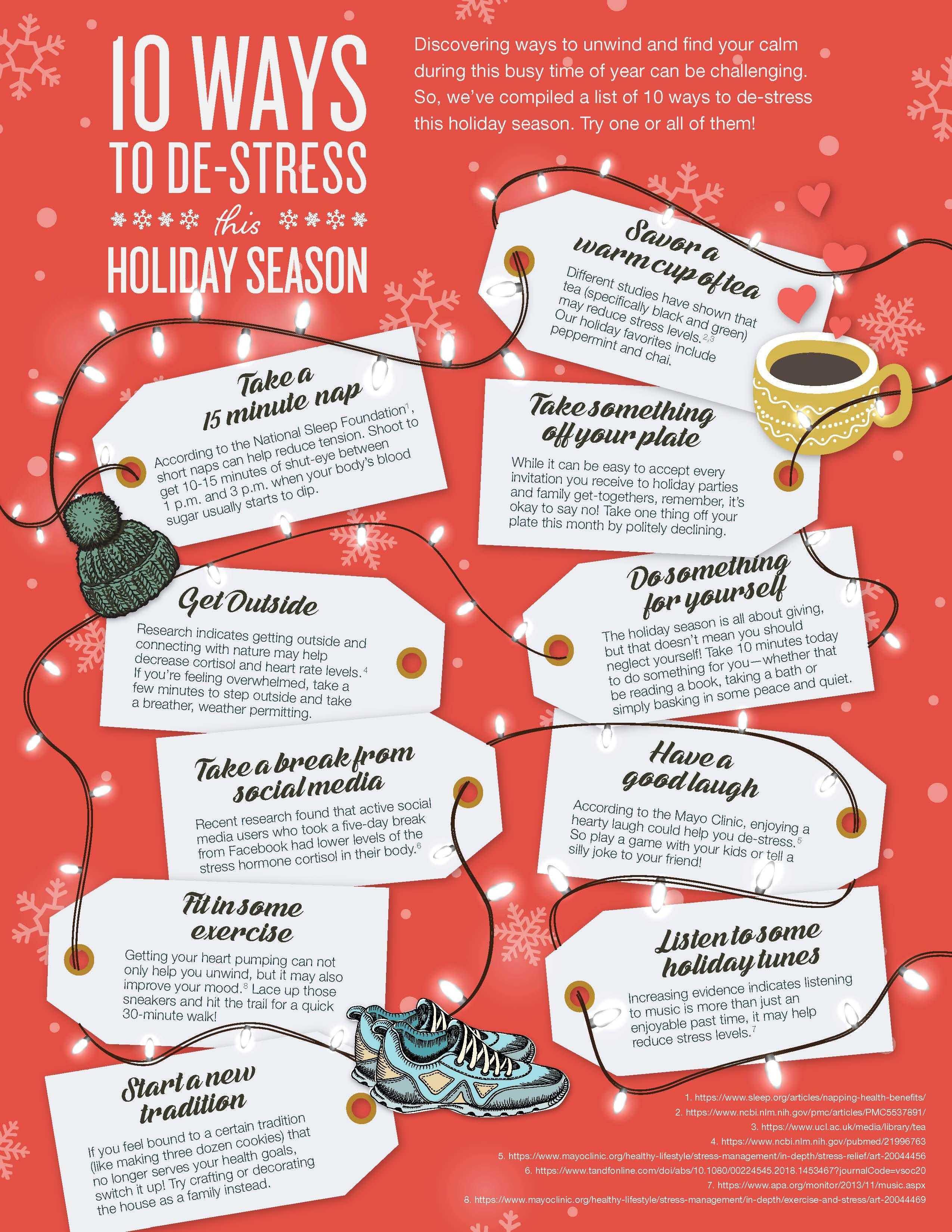 10 Ways To De-Stress Holidays